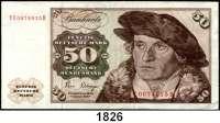 P A P I E R G E L D,BUNDESREPUBLIK DEUTSCHLAND  50 Deutsche Mark 2.1.1980.  YE D.  Austauschnote.  Ros. BRD-32 b.