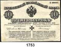 P A P I E R G E L D,Militärgeld Freiwillige Westarmee 10 Mark 10.10.1919.  Mit Prägestempel.  Ros. MIL-3. c.  Pick S 228.