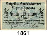 P A P I E R G E L D,Memelgebiet Notgeld der Handelskammer des Memelgebietes 1922 1/2 Mark 22.2.1922.  KN 5 stellig.  Ros. MEM-1 a.
