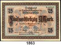 P A P I E R G E L D,Memelgebiet Notgeld der Handelskammer des Memelgebietes 1922 75 Mark 22.2.1922.  Ros. MEM-8.