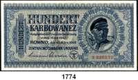 P A P I E R G E L D,Besatzungsausgaben des II. Weltkrieges Zentralnotenbank Ukraine 1942 100 Karbowanez  10.3.1942.  1-stellige Seriennummer. Ros. ZWK-53 a.