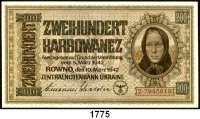 P A P I E R G E L D,Besatzungsausgaben des II. Weltkrieges Zentralnotenbank Ukraine 1942 200 Karbowanez  10.3.1942.  1-stellige Seriennummer. Ros. ZWK-54 b.