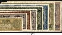 P A P I E R G E L D,Besatzungsausgaben des II. Weltkrieges Zentralnotenbank Ukraine 1942 1, 5 bis 500 Karbowanez 10.3.1942.  Ros. ZWK 47, 49 bis 55.  LOT 8 Scheine