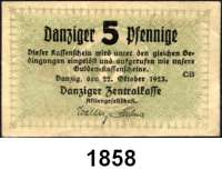 P A P I E R G E L D,D A N Z I G  5 Danziger Pfennige 22.10.1923.  Ros. DAN-37.