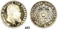 R E I C H S M Ü N Z E N,Württemberg, Königreich Wilhelm II. 1891 - 1918 5 Mark 1913.