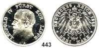 R E I C H S M Ü N Z E N,Lippe (-Detmold) Leopold IV. 1904 - 1918 3 Mark 1913.