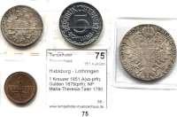Österreich - Ungarn,Habsburg - Lothringen LOTS       LOTS       LOTS 1 Kreuzer 1851 A(vz-prfr); Gulden 1879(prfr); NP Maria-Theresia-Taler 1780 SF(vz) und 5 Schilling 1952(PP).  LOT 4 Stück.