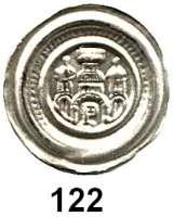 Deutsche Münzen und Medaillen,Brandenburg Otto II. 1184 - 1205 Brakteat.  0,66 g.  Zinnenturm über Bogen zwischen zwei Kuppeltürmen, im Bogen Schlüssel.  Bahrfeldt:104.