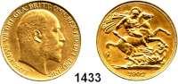 AUSLÄNDISCHE MÜNZEN,Großbritannien Edward VII. 1901 - 1910 2 Pfund 1902  (14,64g fein).  Spink 3968.  Schön 295.  KM 806.  Fb. 399.  GOLD.