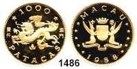 AUSLÄNDISCHE MÜNZEN,Macau  1000 Patacas 1988 (14,64g fein).  Jahr des Drachen.  Schön 37.  KM 39.  GOLD