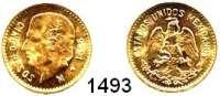 AUSLÄNDISCHE MÜNZEN,Mexiko Estados Unidos Mexicanos 5 Pesos 1955 (3,75g fein, off. Neuprägung).  Schön 25.  KM 464.  Fb. 168 R.  GOLD