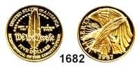 AUSLÄNDISCHE MÜNZEN,U S A  5 Dollars 1987 W, West Point. (7,52g fein).  200 Jahre Verfassung.  Schön 222.  KM 221.  Fb. 198.  GOLD