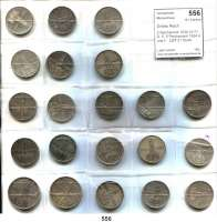 R E I C H S M Ü N Z E N,Drittes Reich  2 Reichsmark 1934 A(17), D, E; 5 Reichsmark 1934 A und F.  LOT 21 Stück.