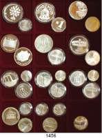 AUSLÄNDISCHE MÜNZEN,Israel L O T S     L O T S     L O T S LOT von 28 meist verschiedenen Silber-Gedenkmünzen zwischen 1982 und 1990.  1/2 Sheqel(7); 1 Sheqel(13) und 2 Sheqalim(8).