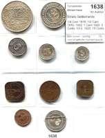 AUSLÄNDISCHE MÜNZEN,Straits Settlements L O T S     L O T S     L O T S 1/4 Cent 1916; 1/2 Cant 1916, 1932; 1 Cent 1920; 5 Cents 1919, 1920; 10 Cents 1919; 20 Cents 1927; 50 Cents 1921 und Dollar 1920.  LOT 10 Stück.