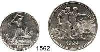 AUSLÄNDISCHE MÜNZEN,Russland Sowjetunion 1924 - 1991 50 Kopeken 1924 und Rubel 1924.  Parch. 56 b und 58 a.  Schön 38 und 39.  Y. 89.1 und 90.1  LOT 2 Stück.