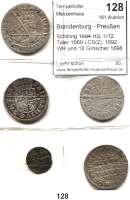 Deutsche Münzen und Medaillen,Brandenburg - Preußen Friedrich III. (I.) 1688 - 1701 (1713) Schilling 1694 HS; 1/12 Taler 1689 LCS(2), 1692 WH und 18 Gröscher 1698 S-D.  LOT 5 Stück.