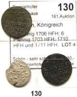 Deutsche Münzen und Medaillen,Preußen, Königreich Friedrich I. (1688) 1701 - 1713 3 Pfennig 1706 HFH; 6 Pfennig 1703 HFH; 1710 HFH und 1711 HFH.  LOT 4 Stück.