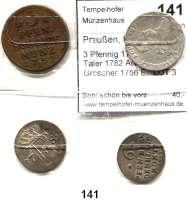 Deutsche Münzen und Medaillen,Preußen, Königreich Friedrich II. der Große 1740 - 1786 3 Pfennig 1752 A; 1/24 Taler 1782 A(vz) und 6 Gröscher 1756 E.  LOT 3 Stück.