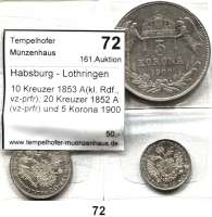 Österreich - Ungarn,Habsburg - Lothringen Franz Josef I. 1848 - 1916 10 Kreuzer 1853 A(kl. Rdf., vz-prfr); 20 Kreuzer 1852 A(vz-prfr) und 5 Korona 1900 KB(f.ss).  Frühwald 1584, 1560 und 2106.  LOT 3 Stück.