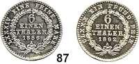 Deutsche Münzen und Medaillen,Anhalt - Bernburg Alexander Karl 1834 - 1863 1/6 Taler 1856 A(ss+) und 1862 A(kl. Rdf., vz-prfr).  AKS 18 und 19.  Jg. 65 und 71.  LOT 2 Stück.
