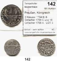 Deutsche Münzen und Medaillen,Preußen, Königreich Friedrich II. der Große 1740 - 1786 3 Kreuzer 1764 B; 6 Gröscher 1756 C und 18 Gröscher 1758 A.  LOT 3 Stück.