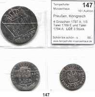 Deutsche Münzen und Medaillen,Preußen, Königreich Friedrich Wilhelm II. 1786 - 1797 4 Groschen 1797 A; 1/3 Taler 1789 E und Taler 1794 A.  LOT 3 Stück.