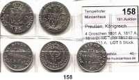 Deutsche Münzen und Medaillen,Preußen, Königreich Friedrich Wilhelm III. 1797 - 1840 4 Groschen 1801 A, 1817 A, 1818:D; 1/6 Taler 1817 D und 1823 A.  LOT 5 Stück.