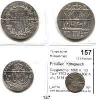 Deutsche Münzen und Medaillen,Preußen, Königreich Friedrich Wilhelm III. 1797 - 1840 Dreigröscher 1800 A; 1/3 Taler 1802 A; Taler 1802 A und 1814 A(starke Schrötlingsfehler).  LOT 4 Stück.