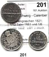 Deutsche Münzen und Medaillen,Braunschweig - Calenberg (Hannover) L O T S     L O T S     L O T S 3 Mariengroschen 1821; 1/12 Taler 1851 und 1/6 Taler 1862.  LOT 3 Stück.