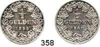 Deutsche Münzen und Medaillen,Württemberg, Königreich Wilhelm I. 1816 - 1864 1/2 Gulden 1855 mit