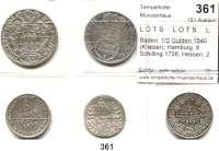 Deutsche Münzen und Medaillen,L O T S     L O T S     L O T S  Baden, 1/2 Gulden 1840 (Kratzer); Hamburg, 8 Schilling 1726; Hessen, 2 Albus 1708; 1/6 Taler 1835 und Lübeck, 8 Schilling 1731.  LOT 5 Stück.