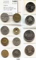 AUSLÄNDISCHE MÜNZEN,Libanon  LOT von 12 Münzen.  Darunter 25 Piaster 1933 und 1 Livre 1980 Olympische Spiele.