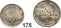 Deutsche Münzen und Medaillen,Preußen, Königreich Wilhelm I. 1861 - 1888 1 Silbergroschen 1867 A und 2 1/2 Silbergroschen 1871 B.  AKS 103 und 102.  Jg. 89 und 90.  LOT 2 Stück.