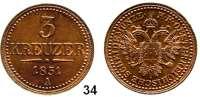 Österreich - Ungarn,Habsburg - Lothringen Franz Josef I. 1848 - 1916 3 Kreuzer 1851 A, Wien.  Frühwald 1627. Jl. 288.