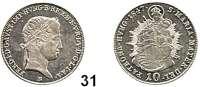 Österreich - Ungarn,Habsburg - Lothringen Ferdinand I., 1835 - 1848 10 Kreuzer 1847 B, Kremnitz.  Frühwald 957.  Jl. 249.