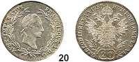 Österreich - Ungarn,Habsburg - Lothringen Franz I. (1792) 1806 - 1835 20 Kreuzer 1830 C, Prag.  Frühwald 372.  Jl. 196 a.
