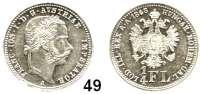 Österreich - Ungarn,Habsburg - Lothringen Franz Josef I. 1848 - 1916 1/4 Gulden 1868 A, Wien.  Frühwald 1549.  Jl. 334 a.