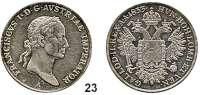 Österreich - Ungarn,Habsburg - Lothringen Franz I. (1792) 1806 - 1835 1/2 Taler 1833 A, Wien  Frühwald 266.  Jl. 214.