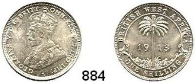 AUSLÄNDISCHE MÜNZEN,Britisch Westafrika  1 Shilling 1913.  Schön 11.  KM 12.