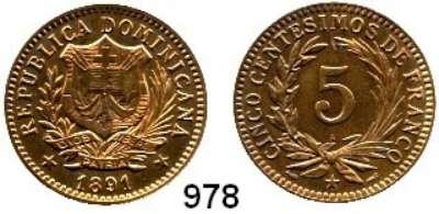 AUSLÄNDISCHE MÜNZEN,Dominikanische Republik  5 Centesimos 1891 A.  Kahnt/Schön 7.  KM 8.