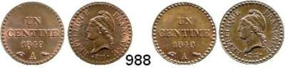 AUSLÄNDISCHE MÜNZEN,Frankreich 2. Republik 1848 - 1852 1 Centime 1848 A und 1849 A.  Kahnt/Schön 77.  KM 754.  LOT 2 Stück.