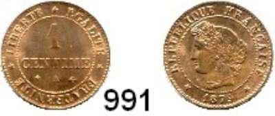 AUSLÄNDISCHE MÜNZEN,Frankreich 3. Republik 1870 - 1940 1 Centime 1879 A.  Kahnt/Schön 119.  KM 826.1.