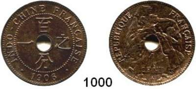 AUSLÄNDISCHE MÜNZEN,Französisch Indo-China  1 Cent 1906 A.  Schön 15.  KM 8.