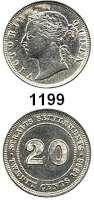 AUSLÄNDISCHE MÜNZEN,Straits Settlements Viktoria 1837 - 1901 20 Cents 1883.  5,39 g.  Kahnt/Schön 15.  KM 12.