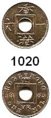AUSLÄNDISCHE MÜNZEN,Hongkong Viktoria 1842 - 1901 1 Mil 1863.  Kahnt/Schön 1.  KM 1.