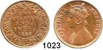 AUSLÄNDISCHE MÜNZEN,Indien Britisch Indien 1/4 Anna 1889.  Kahnt/Schön 35.  KM 486.