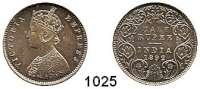 AUSLÄNDISCHE MÜNZEN,Indien Britisch Indien 1/2 Rupie 1892.  Kahnt/Schön 39.  KM 491.