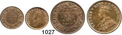 AUSLÄNDISCHE MÜNZEN,Indien Britisch Indien 1/12 Anna 1917 und 1/4 Anna 1917.  Schön 54 und 56.  KM 509 und 512.  LOT 2 Stück.