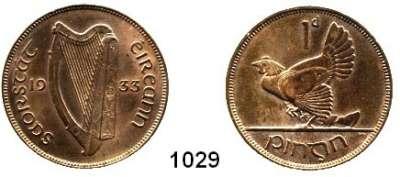 AUSLÄNDISCHE MÜNZEN,Irland  1 Penny 1933.  Schön 3.  KM 3.